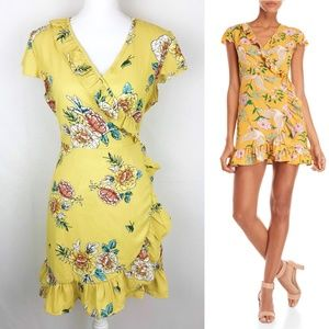 Romeo & Juliet Couture Yellow Floral Wrap Dress L
